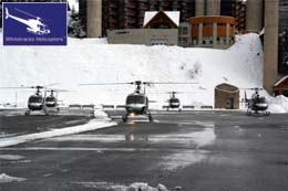 5 Parked Helicopters with Clients from Geneva ready to take part in the Bobsleigh Activities