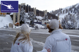 Whitetracks Snow Bunnies (Staff) watching the 5 helicopters take off for their journey to Geneva with the clients